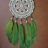 Dream Catcher - Doily - Vintage - Bohemian - Hippie - Green - Dreamer