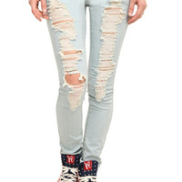 ChiQle Light Wash Distressed Skinny Jeans