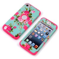MagicSky Plastic + Silicone Tuff Dual Layer Hybrid Rose Flower On Green Case for Apple iPod Touch 5 Generation - 1 Pack - Retail Packaging - Hot Pink