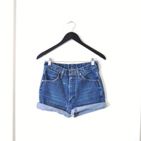 high waisted wrangler cut off denim jean shorts small 26