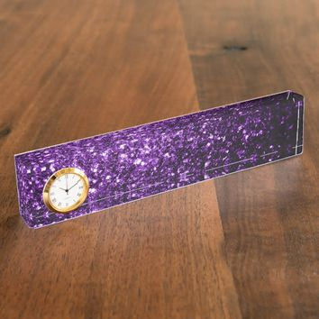 Beautiful Purple glitter sparkles look: Desk Nameplate with Clock by PLdesign