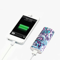 Elegant Floral Pattern Power Bank Charger for iPhone and Samsung | ACYC