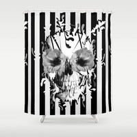 Limbo, Skull with poppy eyes Shower Curtain by Kristy Patterson Design