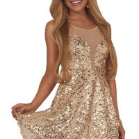 Juniors Gold Sequins Deep V-neck Mesh Inset Lovely Fit-N-Flare Party Mini Dress:Amazon:Clothing