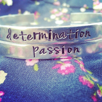 Passion/ determination one bracelet choose your quote and material , one motivational bracelet 1/4 inch wide