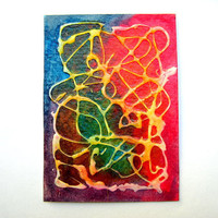 Aceo Abstract Original Painting Mixed Media by LemachiDesigns