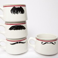 Mustache Coffee Cups by Kimay on Etsy