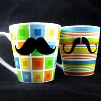 Mustache mug squares and stripes set of 2 by kaoriglass on Etsy