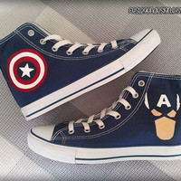 Captain America Custom Converse / Painted Shoes