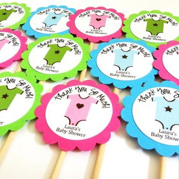Onesuit Cupcake Toppers for Baby Shower Party Celebration