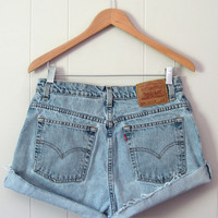 Vintage Levi's Medium Light Wash High Waisted Cut Off Denim Shorts Jean 30""