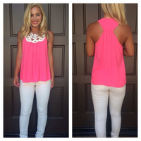 By the Shore Crochet Sleeveless Blouse - HOT PINK