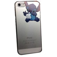 iPhone 5G 5 5S Lovely Disney Cartoon Lilo and Stitch Eating/ Grabbing Apple logo Cute Clear Case Cover for Iphone 5 and 5s Xmas Gift (Stitch05 for 5/5S)