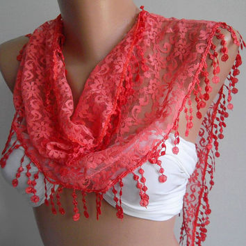 pomegranate flower color / Elegance Shawl / Scarf with by womann