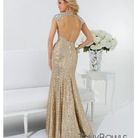 Tony Bowls 2014 Prom Dresses - Gold Sequin Cap Sleeve Open Back Gown