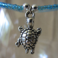 Handmade Detailed Silver Turtle Charm & Glass Beaded Ankle Bracelet, Beach, Summer, Nature, Cute, Fun, Colorful, Bright, Fashion Jewelry
