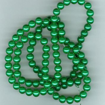 8mm Christmas Green Glass Pearl Round Beads