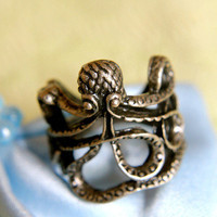 Lucky Brass Octopus Ring | Trinkettes