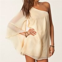 MP Beige One Shoulder Chiffon Dress 051318 NDP 0705