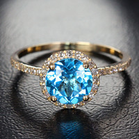 7mm Round Halo Ring Series - 14k Gold Topaz & Diamond Halo Engagement Ring, Other Option:Aquamarine/Morganite/Peridot/topaz/Amethyst/Garnet