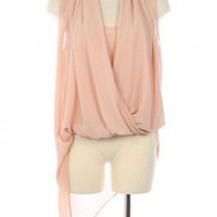 DRAPED FRONT ASYMMETRICAL CHIFFON TOP-Dressy-Womens Dressy Tops,Dressy Top For Women,Fashion Dressy Tops,Trendy Dressy Tops,Promo Dressy Tops