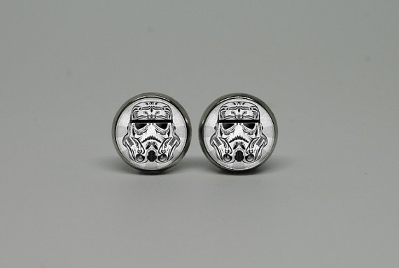 Silver Stud Post Earrings with Star Wars by cnhbigadventure