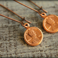Tiny Copper Penny Earrings by saffronandsaege on Etsy
