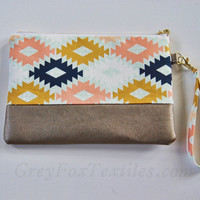 Southwest clutch, wristlet, tribal, navajo, geometric in navy, coral, mint, and mustard yellow, small handbag