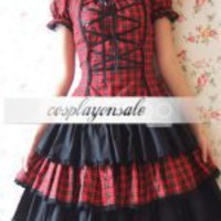 Lolita Costumes Cotton Short Sleeves Black And Red Shepherd Check School Lolita Dress [T110359] - $73.00