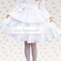Lolita Costumes Cotton White Long Sleeves Ruffles Cotton Cosplay Lolita Dress [T110416] - $73.00