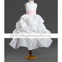 Ball Gown Scoop Tea-length Taffeta Flower Girl Dress (WSW0249) [TWL0407025] - $68.59 : wedding fashion, wedding dress, bridal dresses, wedding shoes