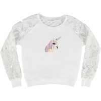 carousel, unicorn, horse, magical, fantasy, beaded, lace, sweater, white, flowers, summer, light, sweater, beaded