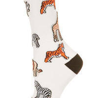 Sheer Safari Animal Ankle Socks - Multi