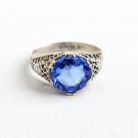 Vintage Art Deco Sterling Silver Blue Glass Stone Ring - 1930s Size 4 3/4 Filigree Flower Jewelry