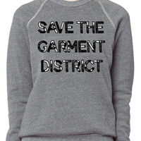 Save, the, Garment District, nyc, new york city, fashion, sweatshirt, custom, sequin, text, lettering, loungewear, weekend wear