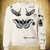 Unisex Crewneck Sweatshirt Harry Styles Tattoos One Direction 1D