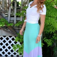 Mint Colorblock Chevron Stripe Maxi Skirt