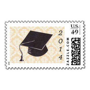 Cream Damask Graduation Cap Stamp