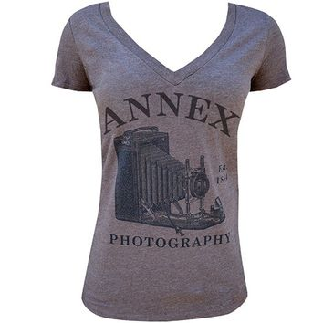 "Women's ""Photography"" V Neck by Annex Clothing (Heather Brown)"