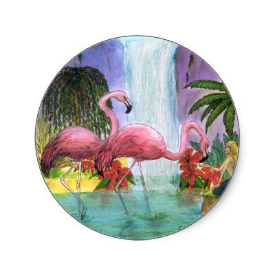 Flamingo's Mermaid Waterfall Tropical Art Round Sticker from Zazzle.com