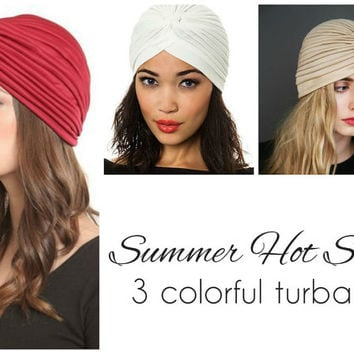 3 Women Turbans Head Wraps in Beige White and Bordeaux