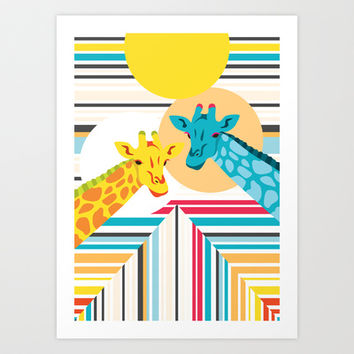 Giraffes In The Desert Art Print by Ornaart
