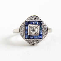 Vintage Art Deco 14k White Gold Diamond and Sapphire Cluster Shield Ring- Antique Size 5 1/4 1940s Fine Jewelry