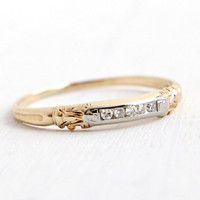 Antique 14k Yellow & White Gold Diamond Wedding Band Ring - Art Deco 1930s Two Tone Bridal Fine Jewelry