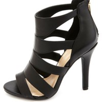 Caged Cut-Out Peep Toe Heels