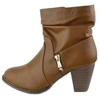 Womens Ruched Ankle Boots Zipper Accent High Heel Booties Cognac Size 5.5-10