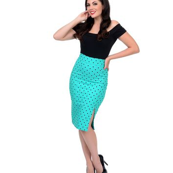 Mint & Black Polka Dot High Waist Pencil Skirt - New Arrivals!