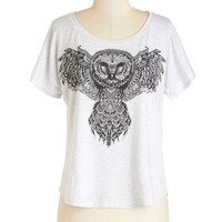 ModCloth Owls Mid-length Short Sleeves Wisely Styled Tee