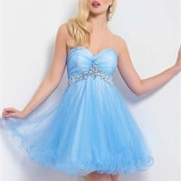 A-line Sweetheart Neckline with beadings Knee Length Tulle Homecoming Dress PD1877