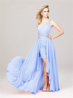 High-low One shoulder with ruching and beadings Zipper Chiffon Homecoming Dress PD1879